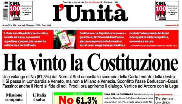 AccaddeOggi 25 giugno 2006 Il Referendum Costituzione di Berlusconi viene bocciato dal 61,29%%