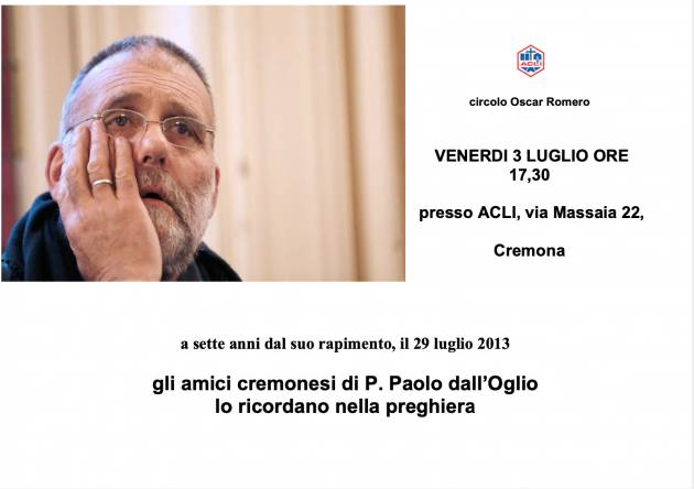 Acli. Il ricordo di padre Paolo Dall'Oglio