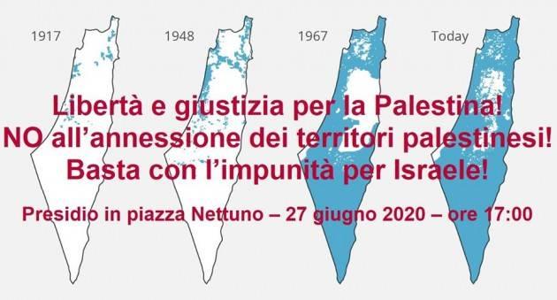 Bologna Europa Verde sabato 27 giugno, alle ore 17.00, presidio 'No all'annessione dei territori palestinesi'