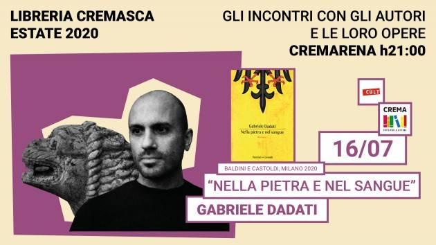 Libreria Cremasca  presenta, il 16 luglio,  un grande romanzo storico, Nella pietra e nel sangue, Baldini+Castoldi, 2020.