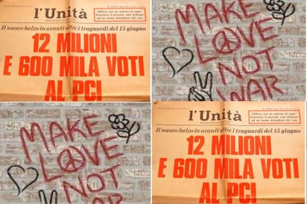 UNA SCRITTA,   di circa 50 anni fa  'PACE, LAVORO,LIBERTA', vota P.C.I.' di Gerelli Sante (Gussola)