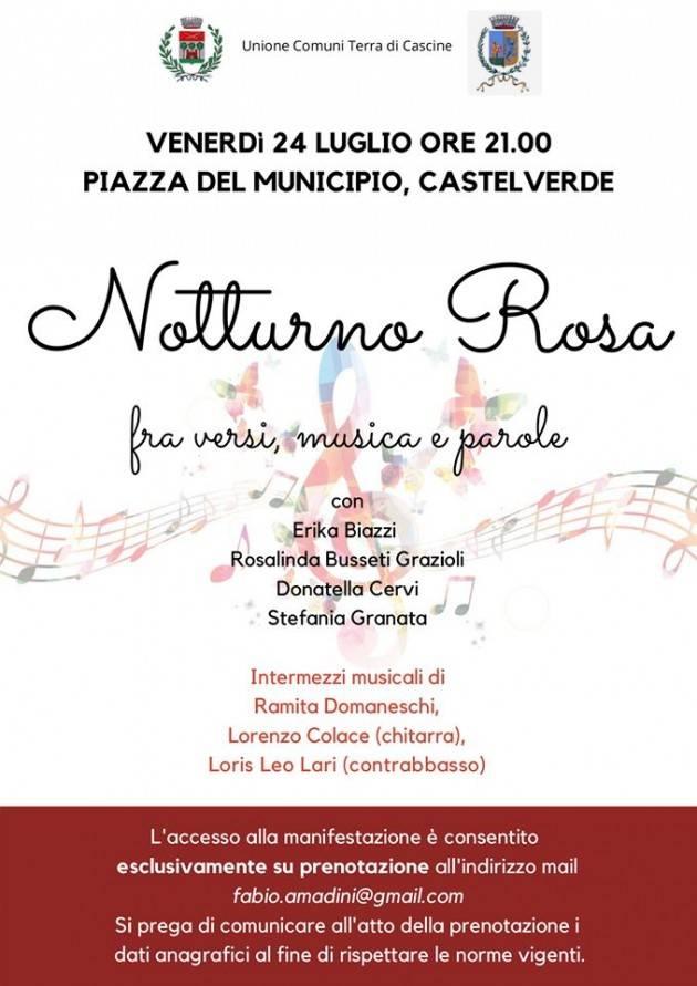 A Castelverde  Notturno in Rosa fra versi, musica e parole il 24 luglio ore 21