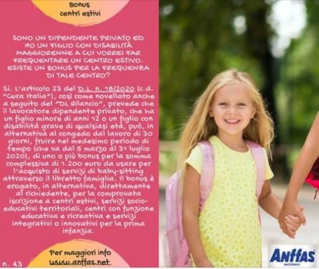 Anffas Cremona Onlus Bonus centri estivi per disabili