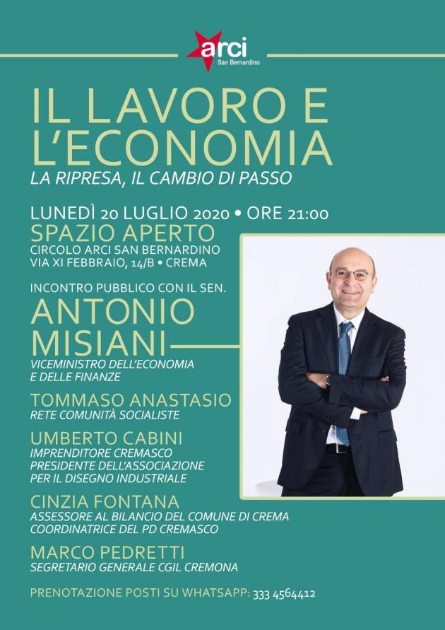 A Crema al Circolo ARCI San Bernardino incontro con Antonio Misiani sull'economia
