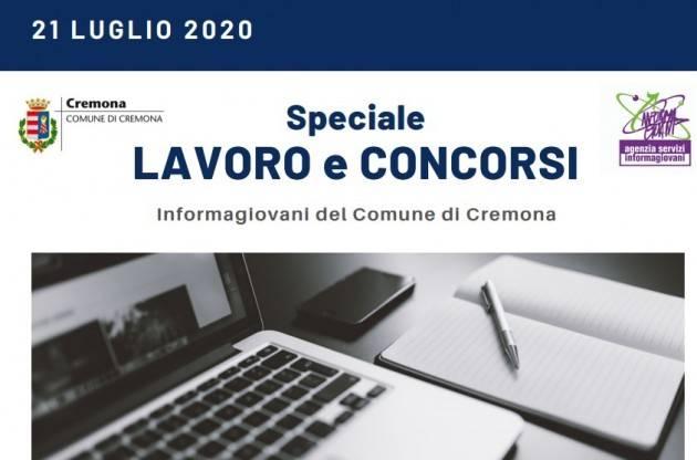 Informa Giovani Cremona SPECIALE LAVORO E CONCORSI del 21 luglio  2020