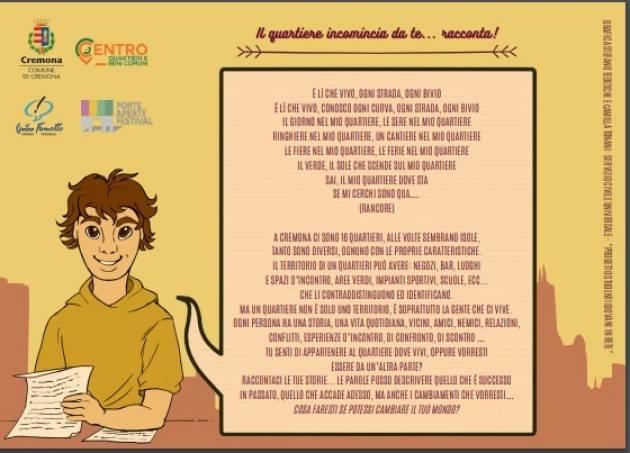 Cremona Progetto 'Storie di Quartiere', arrivano i primi racconti