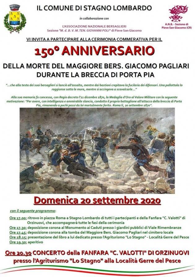 Stagno Lombardo ricorda il 20/9/2020 Giacomo Pagliari e la presa di Porta Pia
