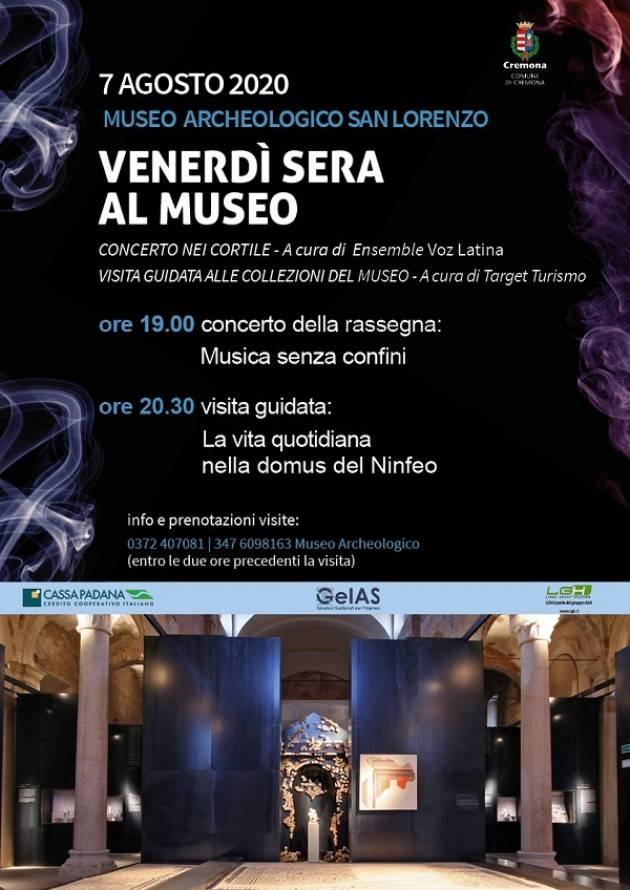 Cremona  Venerdì sera al museo: il 7 agosto appuntamento all'Archeologico di via S. Lorenzo