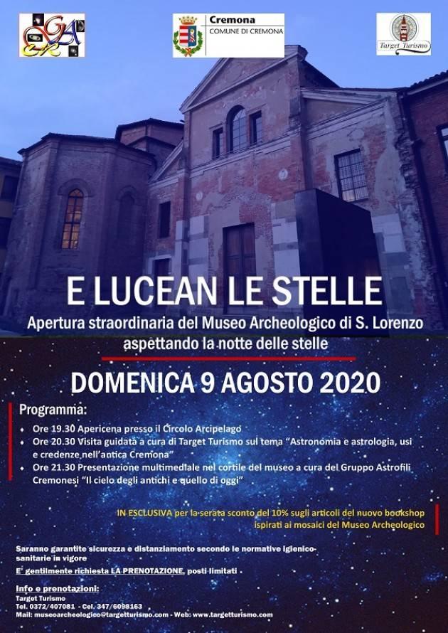 Cremona  LUCEAN LE STELLE al Museo Archeologico di S. Lorenzo domenica 9 agosto
