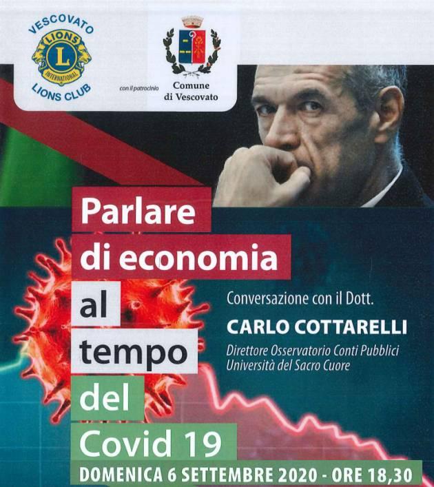 Carlo Cottarelli a Vescovato domenica 6 settembre