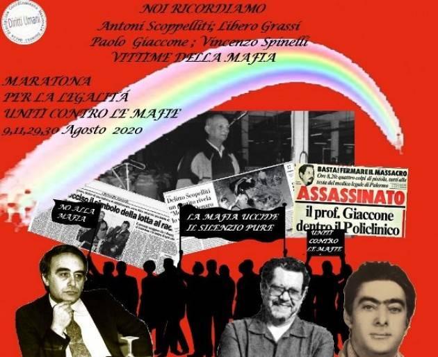 CNDDU   9,11,29,30 agosto 2020, Maratona digitale per la legalità. Uniti contro le mafie