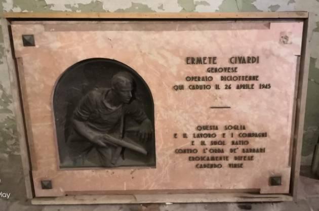Cremona Lapide partigiano Ermete Civardi Lettera di Corada (Anpi) al Sindaco
