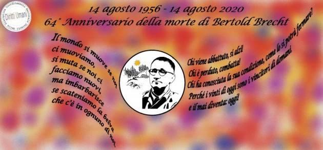 CNDDU ricorda la figura del poeta Bertold Brecht, scomparso 64 anni fa (14 agosto 1956).