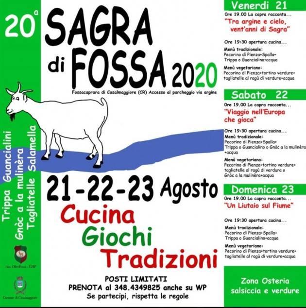Sta per iniziare la 20° Sagra di Fossa :21-22-23 agosto