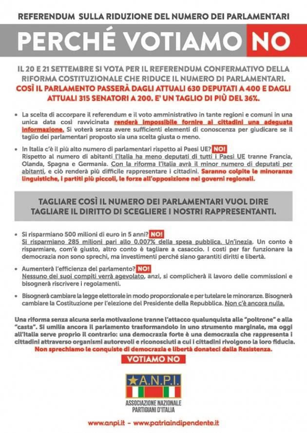 Referendum Taglio Parlamentari La sezione Anpi  di Romanengo vota NO