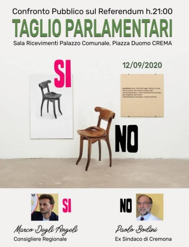 Crema Referendum Taglio Parlamentare Confronto Degli Angeli per il SI e Bodini per il NO