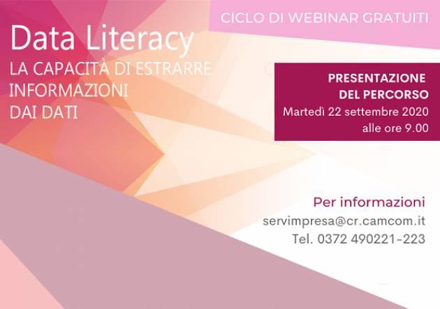 Data Literacy, nuovo ciclo di webinar gratuiti della Camera di Commercio di Cremona