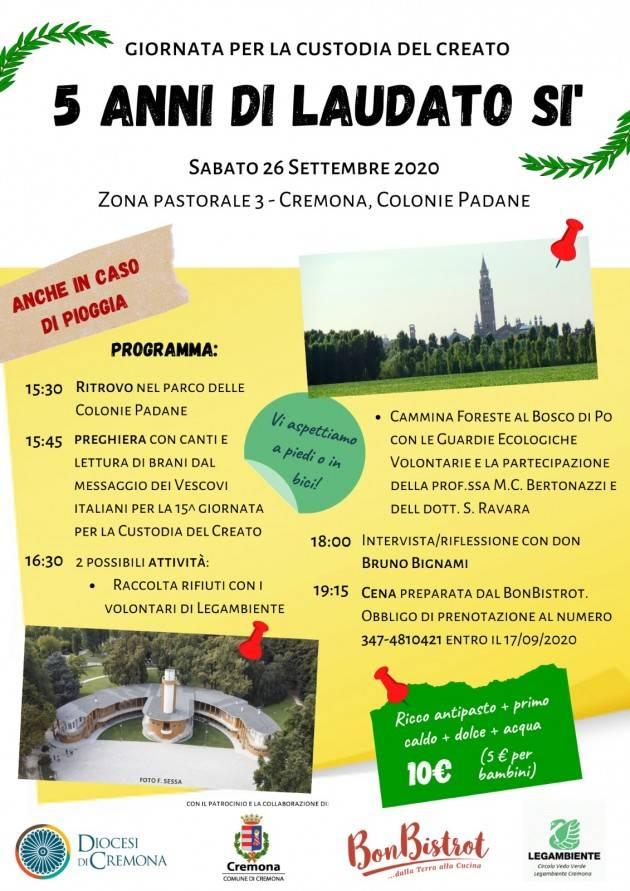 Custodia del Creato: sabato 26 settembre evento alle Colonie Padane di Cremona. Alle 18 l'incontro con don Bruno Bignami