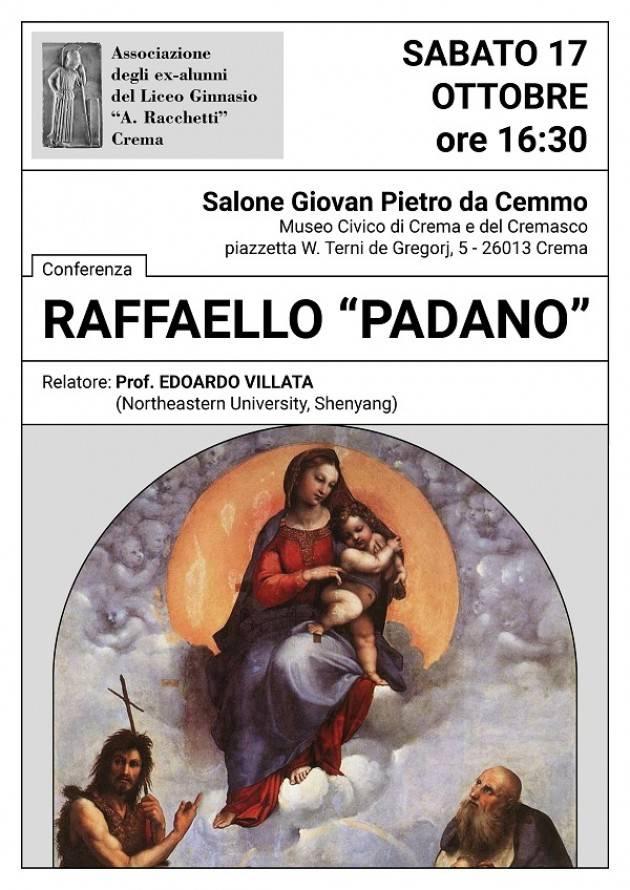 """A Crema Conferenza su il Raffaello """"padano"""" con prof. Edoardo Villata"""