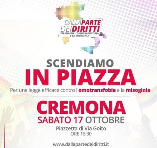 Arcigay Cremona SCENDIAMO IN PIAZZA sabato 17 ottobre  #DALLAPARTEDEIDIRITTI