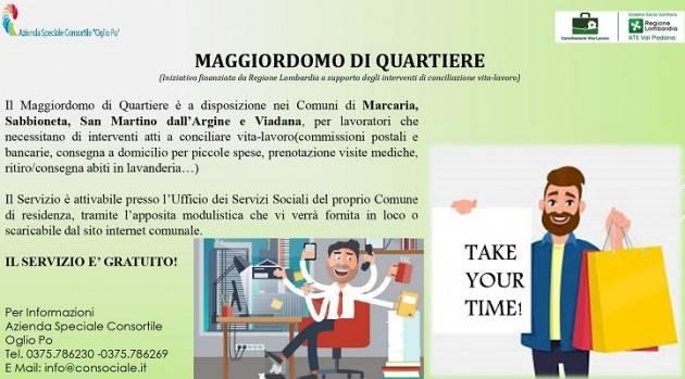 Prosegue  servizio gratuito  'maggiordomo quartiere' a Viadana, Marcaria Sabbioneta e San Martino dall'Argine.