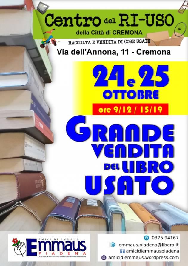 Cremona GRANDE VENDITA DEL LIBRO USATO AL CENTRO DEL RI-USO EMMAUS
