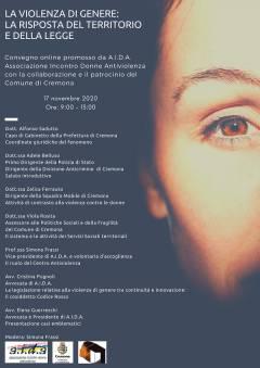 Violenza di genere: la risposta del territorio  Organizza AIDA Cremona 17/11/20