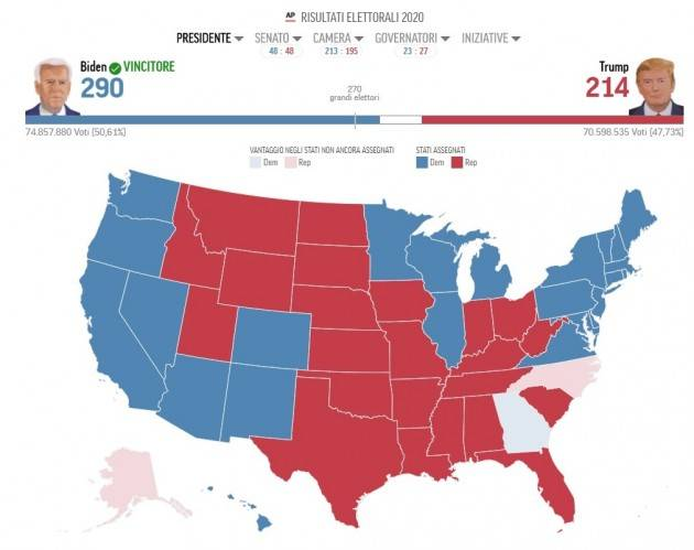 Trump sconfitto Usa 2020 Joe Biden con 290 grandi elettori  è il 46esimo presidente degli Stati Uniti