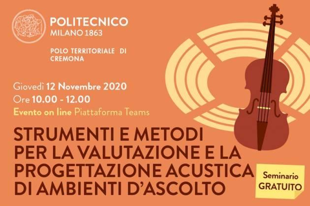 Oggi Al Campus di Cremona il seminario Strumenti e metodi per la valutazione e la progettazione acustica di ambienti d'ascolto