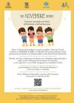Cremona 20 Novembre Giornata internazionale per i diritti dell'infanzia e dell'adolescenza