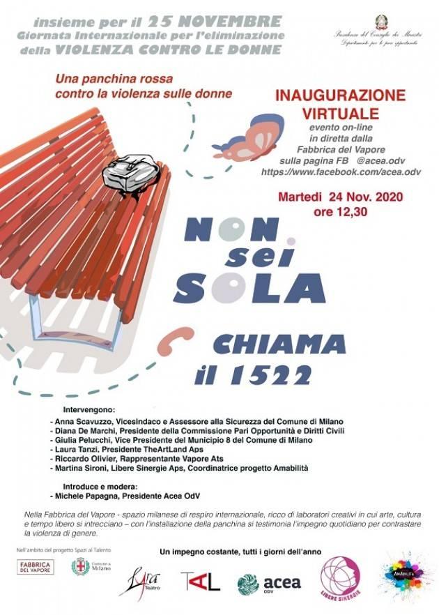 Milano la  Panchina Rossa nella Fabbrica del Vapore del Comune