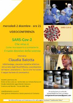 Cremona Mercoledì 2 dicembre ore 21  Videoconferenza SARS-CoV-2 con Claudia Balotta