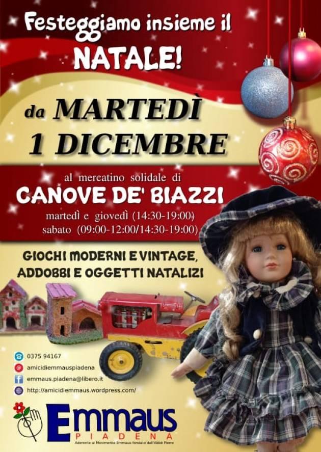 Emmaus Dal 1° dicembre riaprono i mercatini usato di Piadena e Canove de' Biazzi e al Centro Riuso Cremona