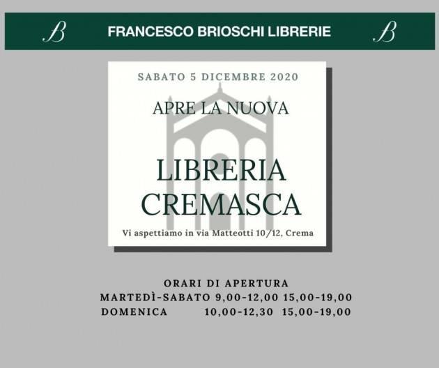 CREMA - DOMANI APRE AL PUBBLICO LA ''LIBRERIA CREMASCA'' DI BRIOSCHI