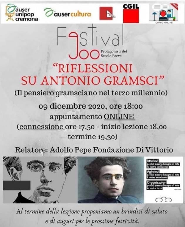 Riflessioni su Antonio Gramsci  on line il 9/12 | AUSER UniPop  Cremona