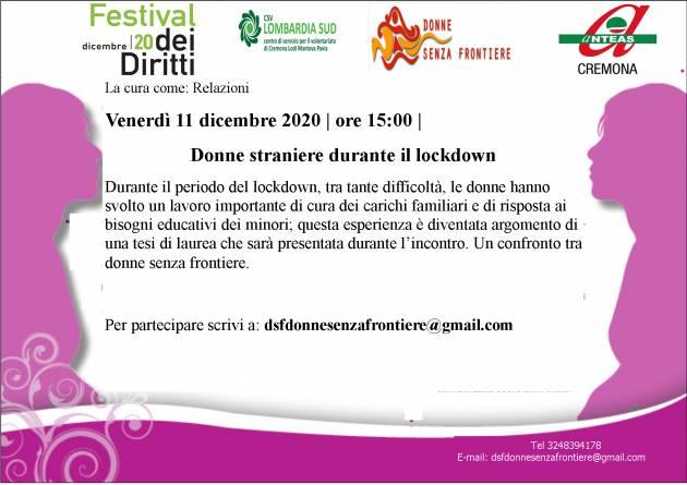 Cremona Donne straniere durante il lockdown Evento on line 11/12