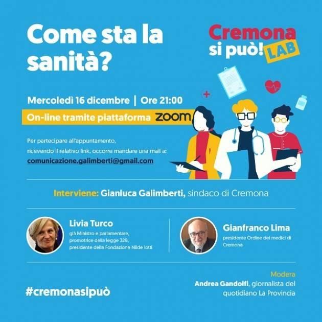 Cremona Sanità, incontro con Livia Turco e Gianfranco Lima (On line) il 16/12 ore 21