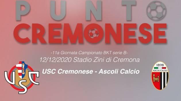 PUNTO CREMONESE: alle 14.00 Cremonese ed Ascoli scenderanno in campo allo Zini