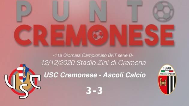 PUNTO CREMONESE: avvincente  pareggio tra Cremonese ed Ascoli. Decisivo Volpe