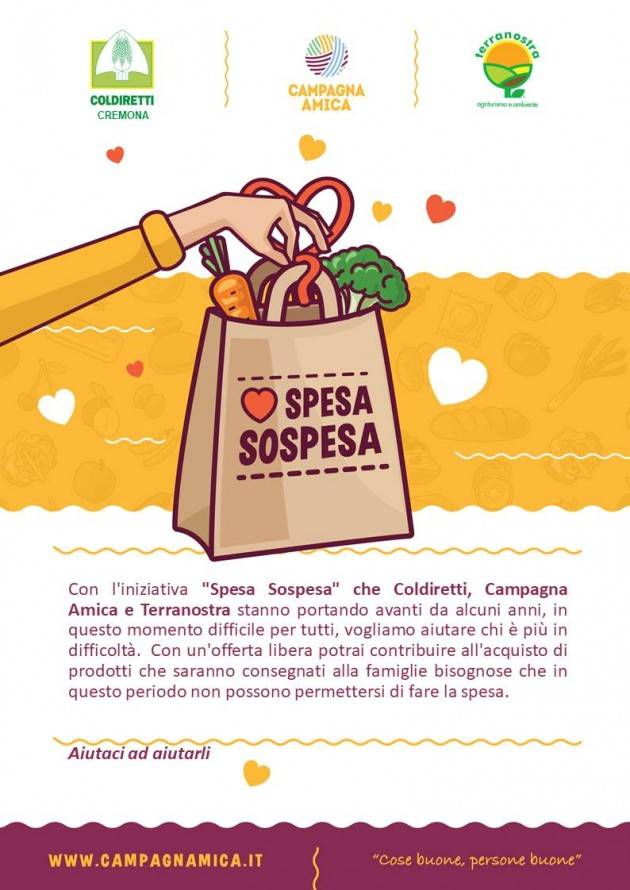 Coldiretti Domani al Mercato di Campagna Amica a Cremona la 'spesa sospesa'