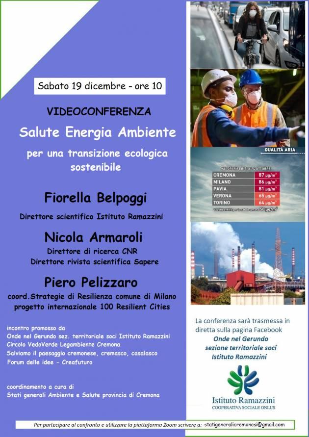 Cremona Sabato 19 dicembre ore 10 incontro online SALUTE ENERGIA AMBIENTE