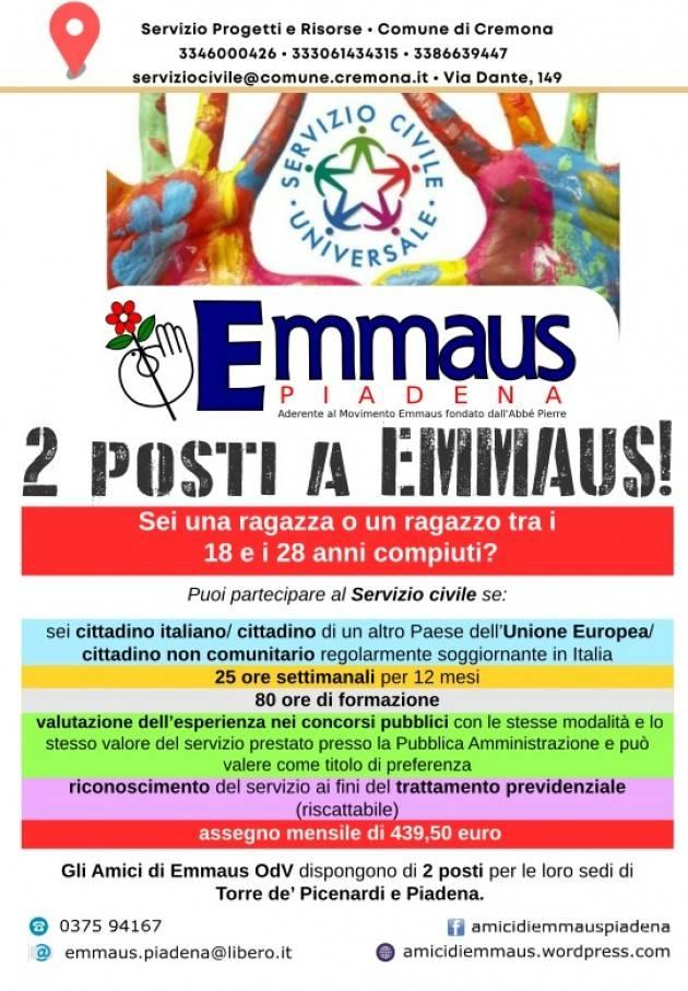 News EMMAUS Mercatini aperti durante le festività e ricerca volontari servizio civile