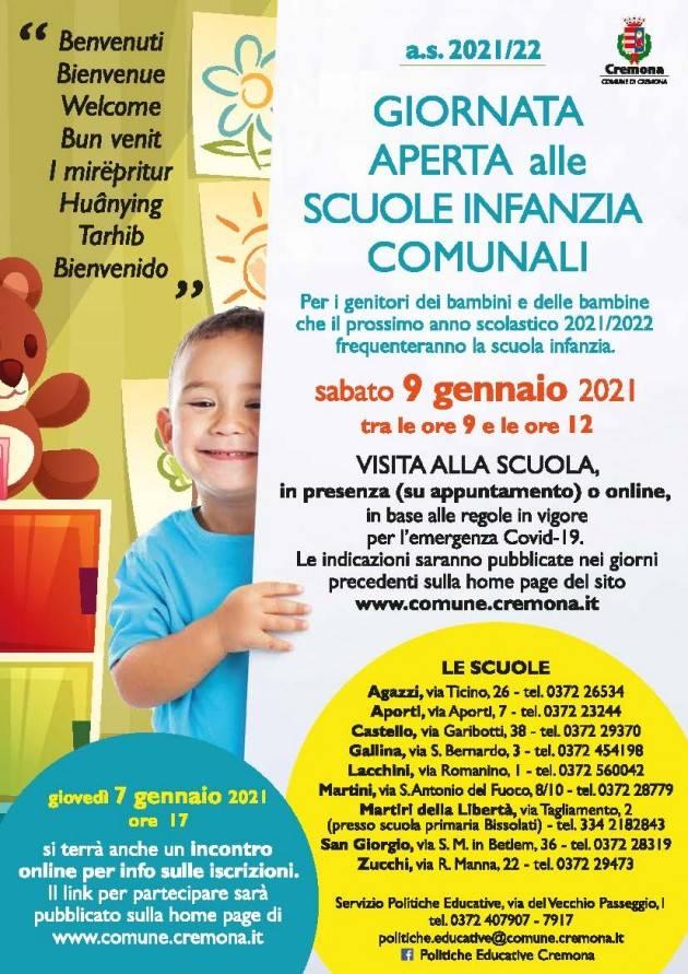 Cremona Iscrizioni alle scuole infanzia comunali dal 4 al 25 gennaio 2021