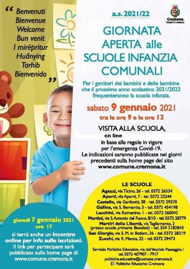 Cremona Iscrizioni scuole infanzia, il 7 gennaio incontro online per i genitori