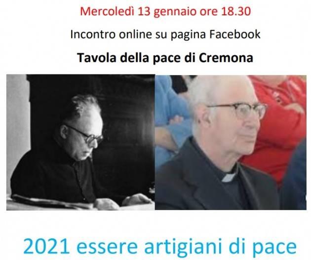 Tavola pace Cremona  Iniziativa online 'essere per la pace con Primo Mazzolari'