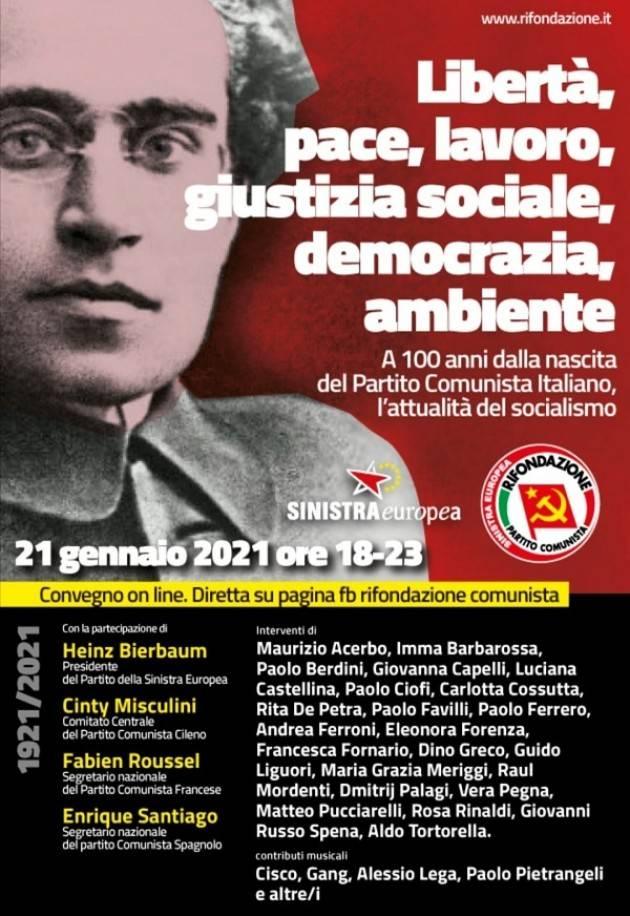 Anniversario nascita PC d'I 21/01/1921 -21/01/2021 Le Iniziative di Rifondazione