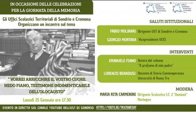 UST Cremona Giornata della Memoria, incontro in ricordo di Nedo Fiano