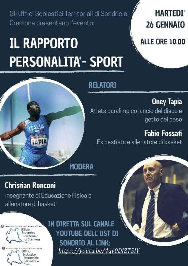 UST Cremona 'Il Rapporto personalità Sport' Incontro on line 26 gennaio ore 10