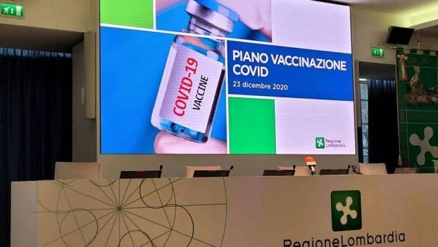 Piano vaccinazione covid Regione Lombardia presentato il 27 gennaio
