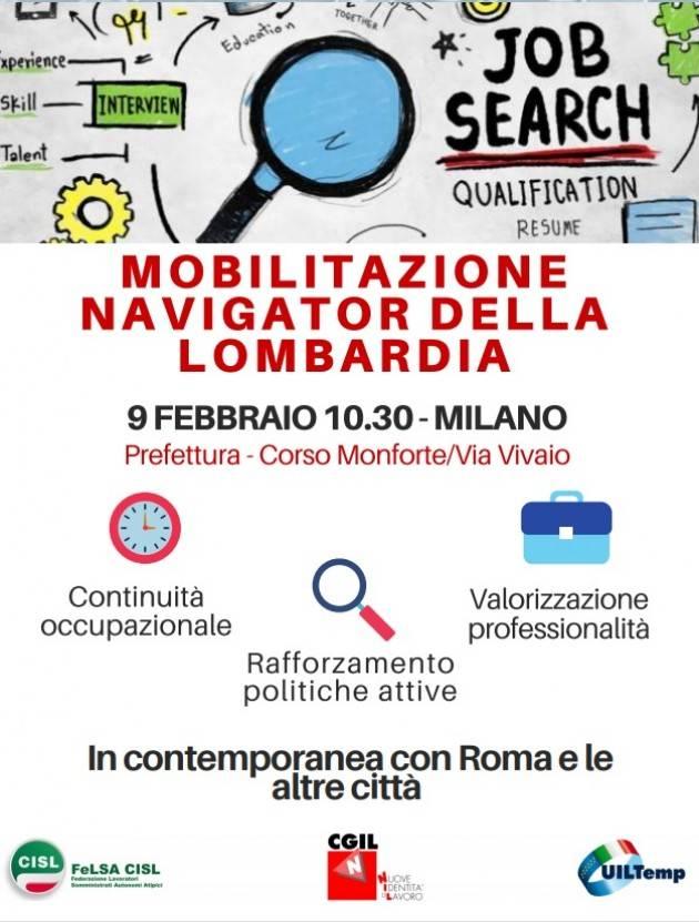 Cgil-Cisl-Uil Mobilitazione Navigator In Lombardia appuntamento a Milano